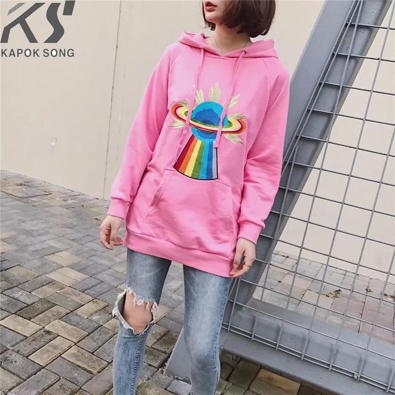 women hoodies long sleeve hoody ladies dress cotton fashional flash pink pullovers cotton hoody regular avarage