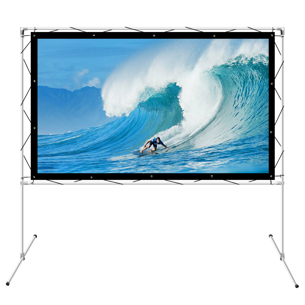 150 inch Projection Stand Bracket with Frame for Outdoor Projection Screen 150 inch Use with Canvas, Rear, PVC, Silver Screen