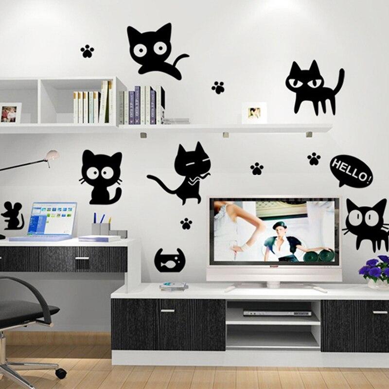 3D Carta Da Parati Nero gatto wc adesivi interruttore adesivi murali ...