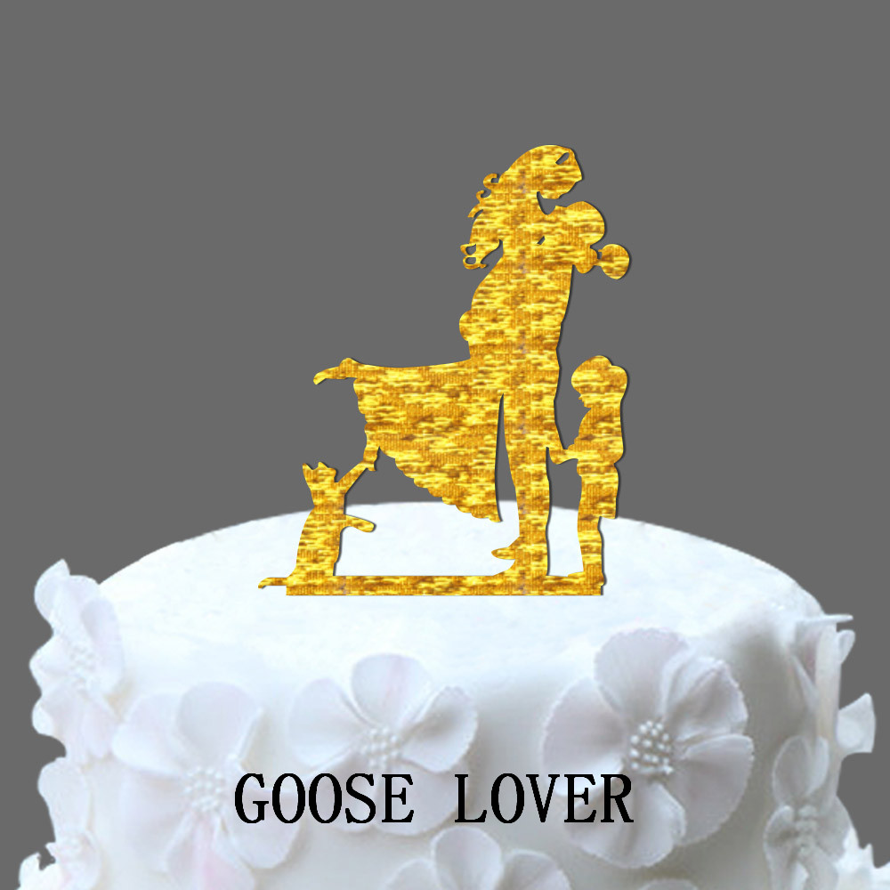 Shy Girl Wedding Cake Topper With Cat And Little Girl, Family Bride ...