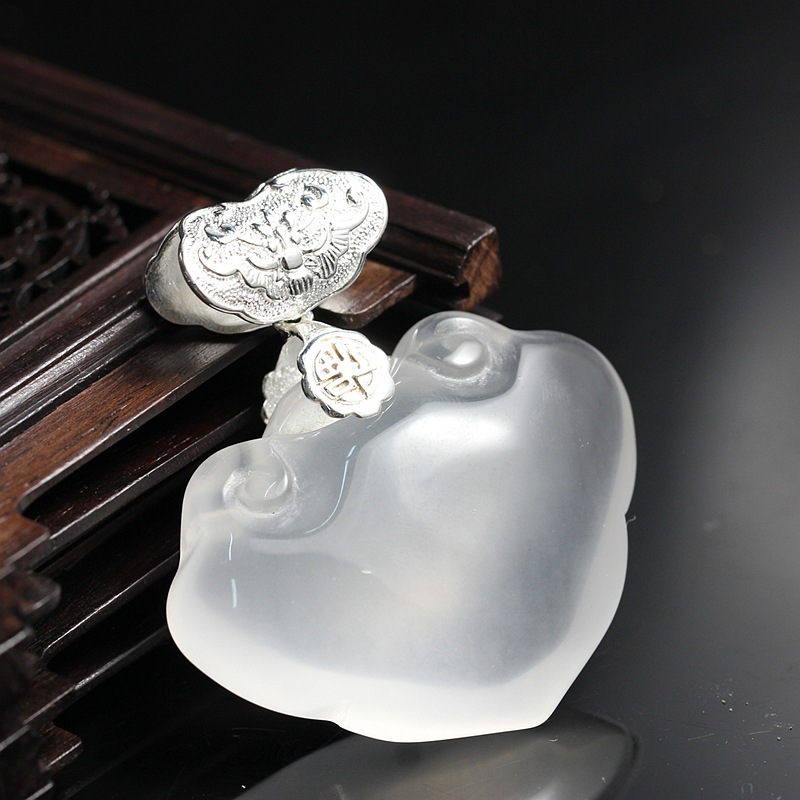 925 Sterling Silver with white marrow longevity peace auspicious clouds lock Pendant clouds without rain
