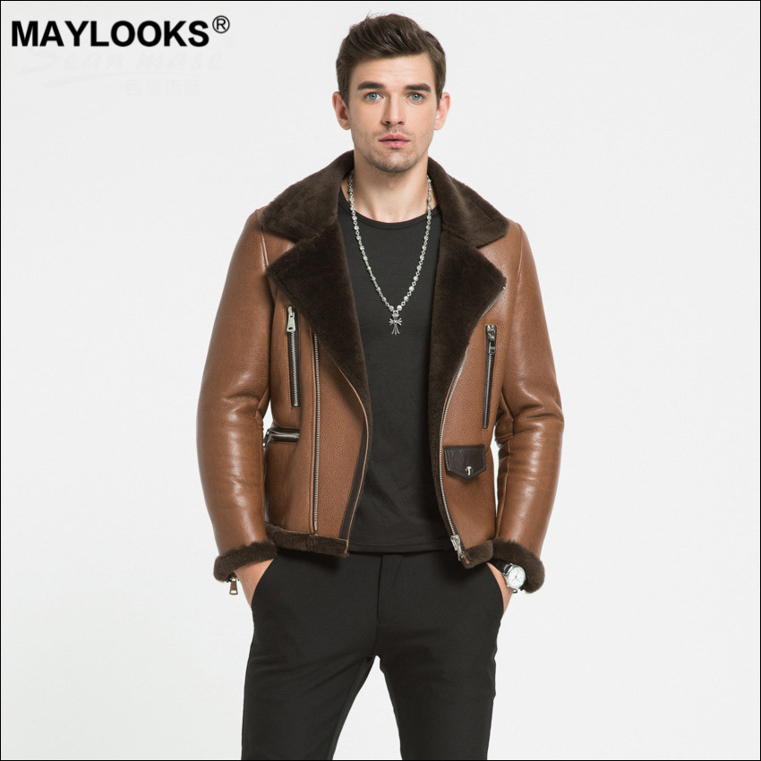 Maylooks 2018 autumn and winter new eco skin and fur sheep skin men's leather clothing motorcycle fashion fashion male WS94