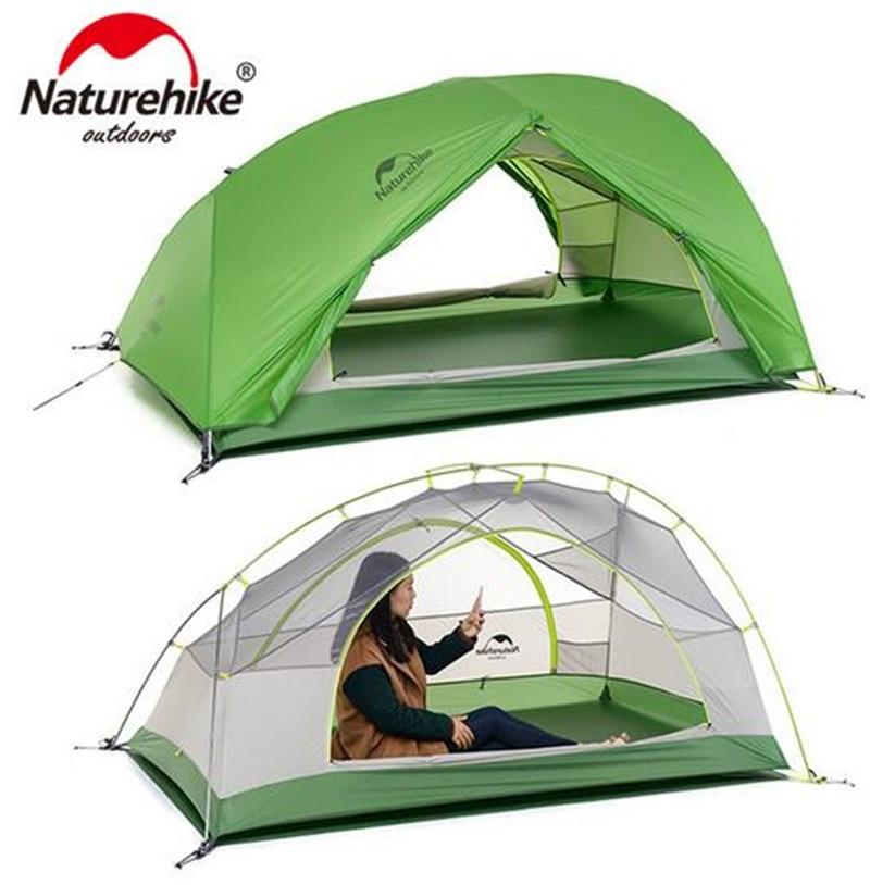 NatureHike Bonne Qualité 20D Silicone Tissu Étanche Double-Couche 2 Personne 4 Saison Aluminium Rod Camping En Plein Air Tente