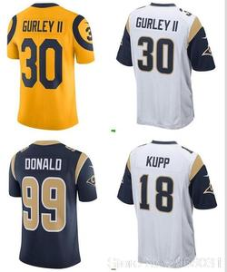 2018 los Free shipping A+++ Angeles quality Mens adults Jersey Jared Goff  16 Todd Gurley 30 Aaron Donald 99 Cooper Kupp 18 3e27917a7