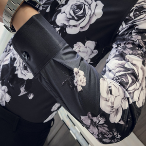 Image 4 - 품질 한국 턱시도 셔츠 남성 긴 소매 슬림 맞는 인쇄 남자의 사회 셔츠 캐주얼 나이트 클럽 가수 무대 의상 블라우스 3xl