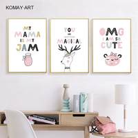 Nordic Cartoon Animals Art Canvas Painting Prints Colorful Cute Quote Posters Wall Pictures For Baby Room Nursey Home Decor K038