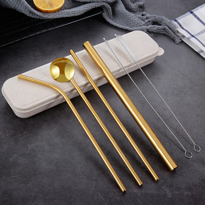 Environmentally Friendly 3pcs Stainless Drink Straws Set with carry box +1pcs Cleaner Brush, Reusable Straw Bar Accessories