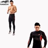 TUNSECHY Yeni Fitness Sıkıştırma Setleri T Shirt Erkekler 3D Baskılı Crossfit Kas Gömlek Tayt Bankası Katman Sıkı giyim