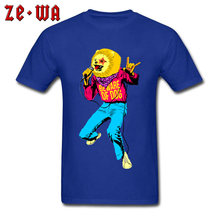 Hip Hop T-shirt Men Blue Tshirt Beware Of Dog Pure Cotton Round Neck Tops Short Sleeve Print Tee Shirt Street Pop Rock Clothes(China)