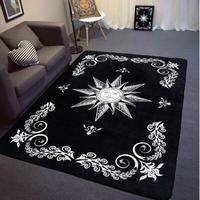 INS de mode Grand Super Doux Flanelle noir et blanc Tapis Soleil dieu doux salon Tapis tapis de jeu Non-slip tapis couverture Thé tapis