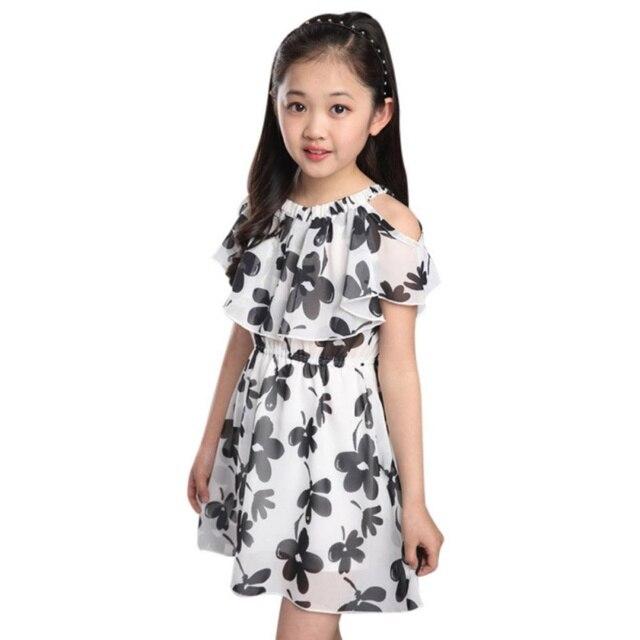 868cbf12d40abe Großes Mädchen Kleider Sommer Neue Kinderbekleidung Kinder Blume Kleid  Chiffon Prinzessin Kostüm Mädchen Kinder