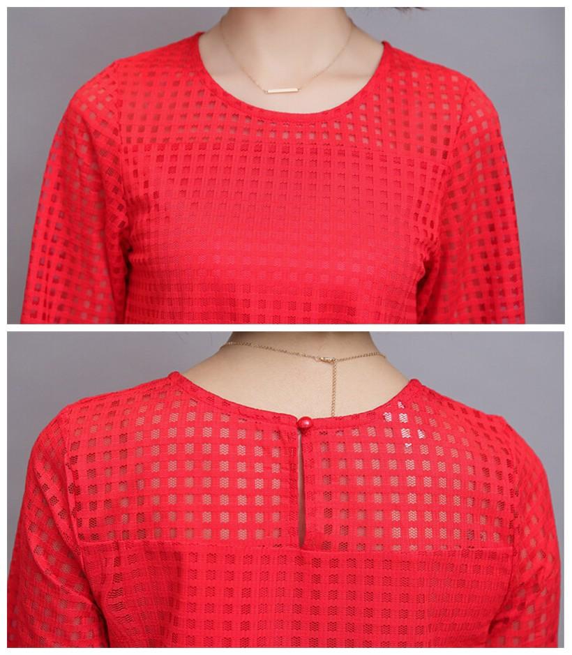 Plus Size 4XL 5XL 6XL  Luxury Lace O Neck  Women Blouse Shirt Noble Long Mesh sleeve Shirt Blouse Vintage tops Blusas Femininas