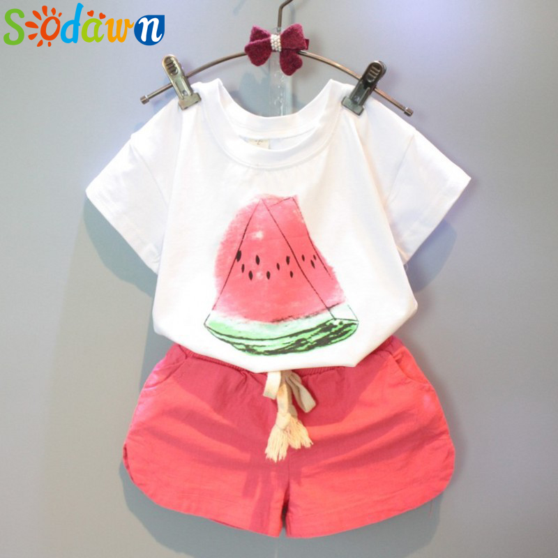 Sodawn Girls Clothes Baby Girl Children's Clothing Fruit T-Shirt + Shorts Suit Clothing Set
