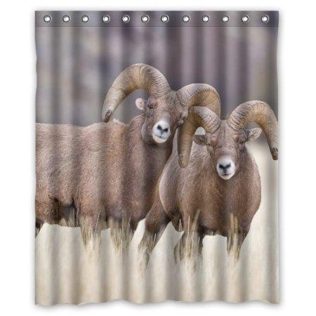 Animal Buck Couple Love Sheep Waterproof Bathroom Curtain Polyester Fabric Shower Curtains160x180cm