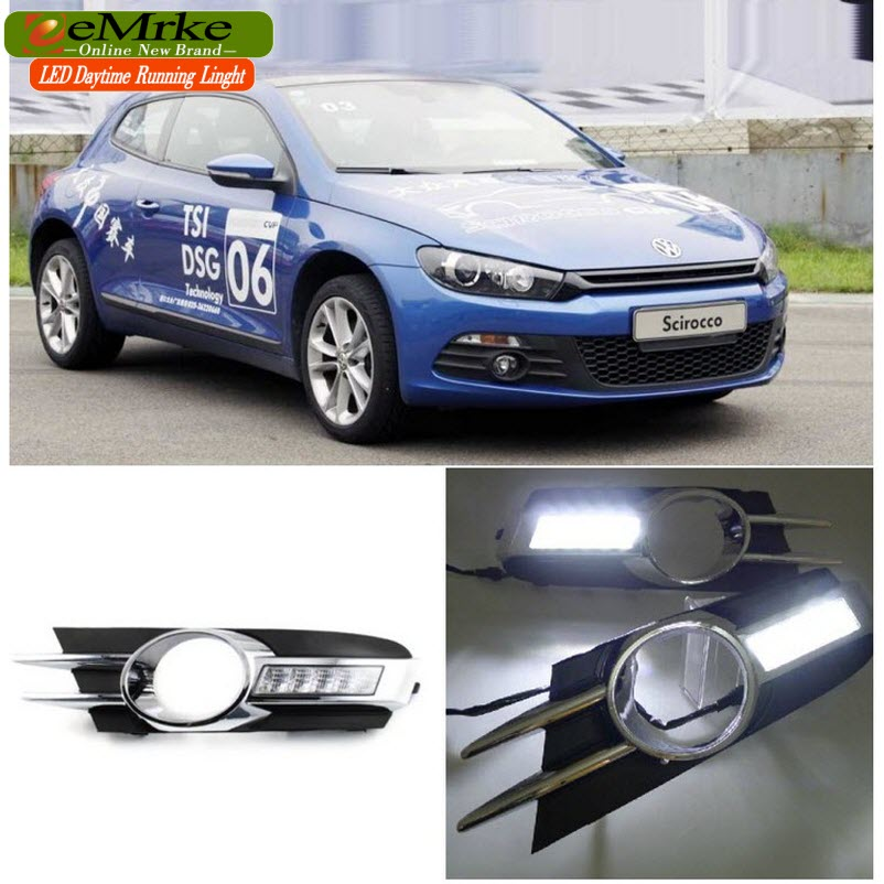 eeMrke LED Daytime Running Lights For VW Volkswagen Scirocco 2010 2011 2012 2013 White DRL Light Fog Lamp Cover Kits daytime running light for vw volkswagen passat b6 2007 2008 2009 2010 2011 led drl fog lamp cover driving light