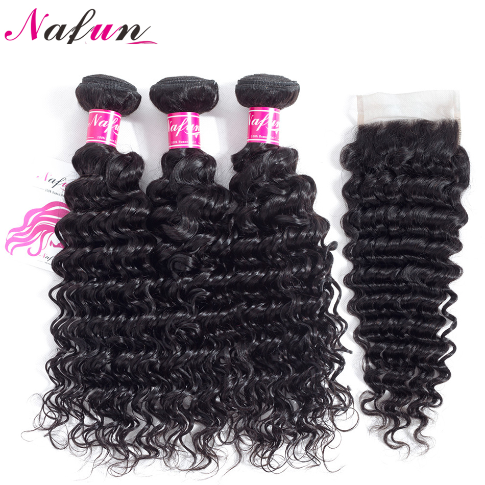 NAFUN Hair Brazilian Deep Wave Human Hair 3 Bundles With Lace Closure Non Remy Hair Natural Color 4Pcs Extensions Free Shipping ...