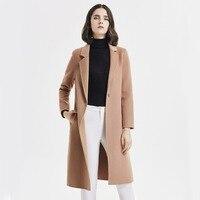 Brown slim wool coat women good quality wool overcoat autumn winter elegant bodycon cocoonc women Cardigan Jackets Long Cashmere
