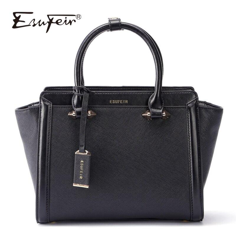 ESUFEIR ブランド本革の高級ハンドバッグ女性のバッグデザイナー牛革ショルダーバッグカジュアルトートブランコバッグボルサ feminina  グループ上の スーツケース & バッグ からの ショッピングバッグ の中 1