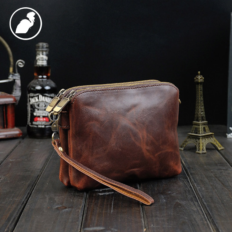 ETONWEAG Brands Cow Leather Wallet Men Clutch Bags Brown Vintage Double Zipper Organizer Wallets Travel Preppy Style Coin Purse