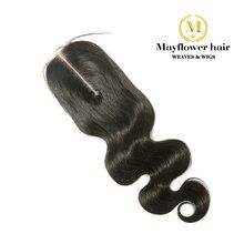 """Mayflower 2X"""" Ким синтетическое закрытие шнурка волос волосы Remy средства ухода за кожей волна полностью связанный вручную с ребенком линии не клубок"""