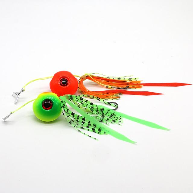 JonStar 35/65/85/95g deep sea jigging metal slow jig head with rubber skirts luminous glow japan salt water marlin inchiku