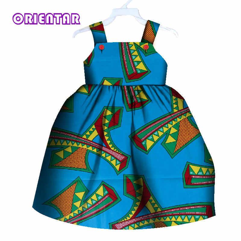 2bfdfb7dc4 Cute Kids Girl African Dress Children Print Floral Sleeveless Dress Bazin  Riche Clothes Summer Girls Casual Cotton Dresses WYT80