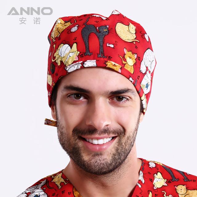 Unisex gorros quirúrgicos con patrón impresión de la manera sombrero de algodón beanie caps pelo corto de médico Del Hospital
