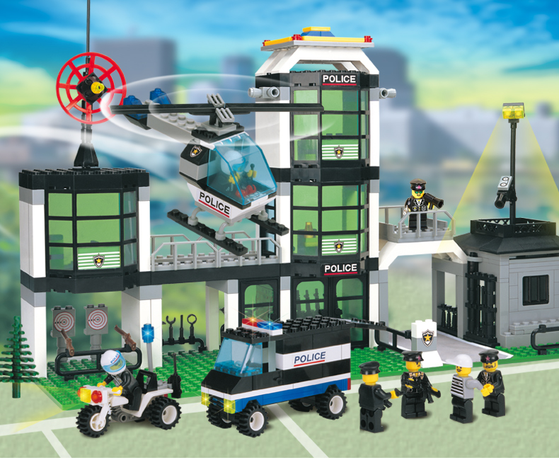 ФОТО building block set compatible with lego city Hotel De Police 3D Construction Brick Educational Hobbies Toys for Kids