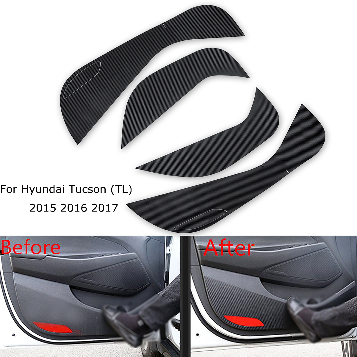 4x Car Interior Inner Door Protective Anti Kick Film Sticker Carbon Fiber Decal For Hyundai Tucson TL 2015 2016 2017 2018 2019