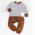2017 new style Fashion baby boy clothing set clothes striped Long Sleeve Kids Boy Clothing Set