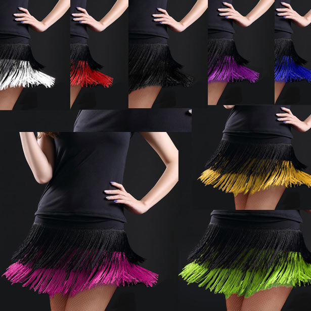 Adult Lady Dance Dance Skirt Women's Double Tassel Skirt Latin Dance Fringe Skirt Contains Dress