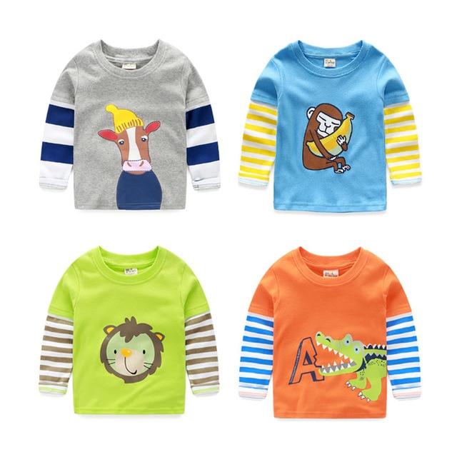 baby cartoon monkey crocodile hippopotamus printed t-shirts for girls boys cotton autumn striped long sleeve patchwork clothing