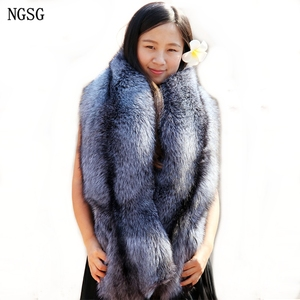 Image 2 - Natural Real Fur Scarf Shawl Women 120cm Winter Men Double sided Genuine Silver Fox Scarves Couples Luxury Grey Fox Collar