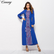 2019 hot-selling new printed long-sleeved dress round-collar cotton fashion leisure street