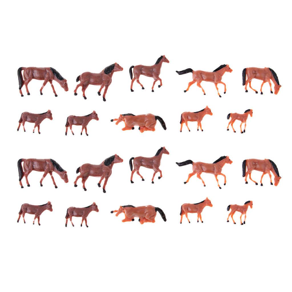 Cavalos 20 pcs 1/87 Escala HO Modelo Animal Pintado Figura Em Miniatura para Layout de Trem Modelo Fazenda Zoológico Parque Animal Selvagem