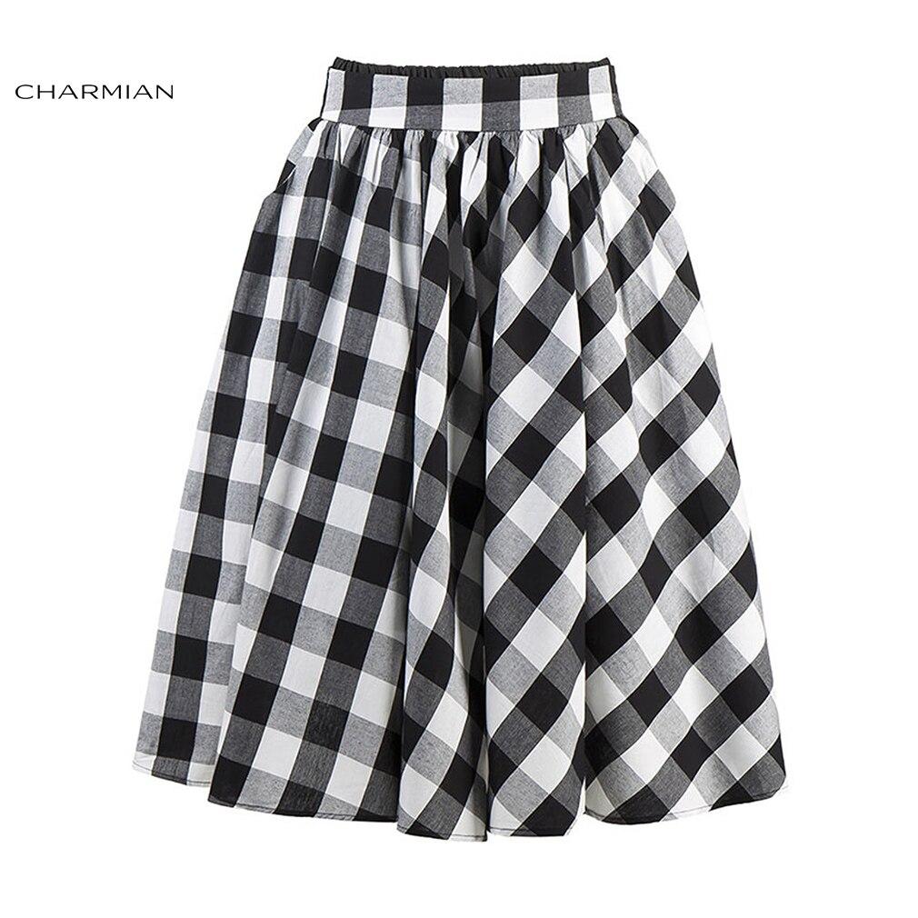 6b34a54200cfcc € 20.76 43% de réduction|Charmian femmes Vintage été jupe Midi rétro taille  haute jupe à carreaux Rockabilly jupe décontractée avec poches ...