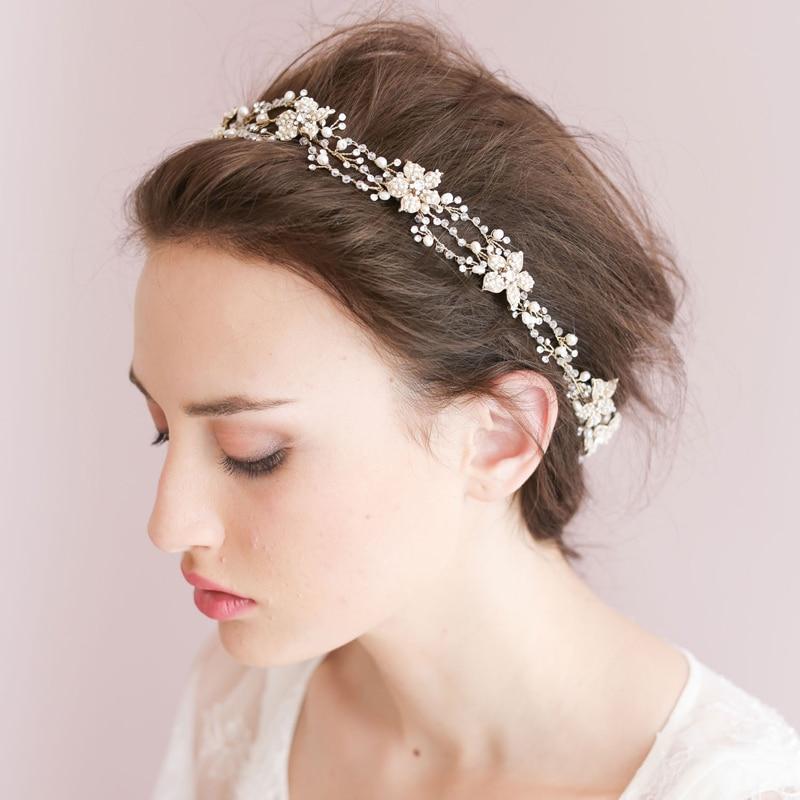 High-end barok blomsterhovedkranser Brude perle sølv hårbånd - Beklædningstilbehør - Foto 3