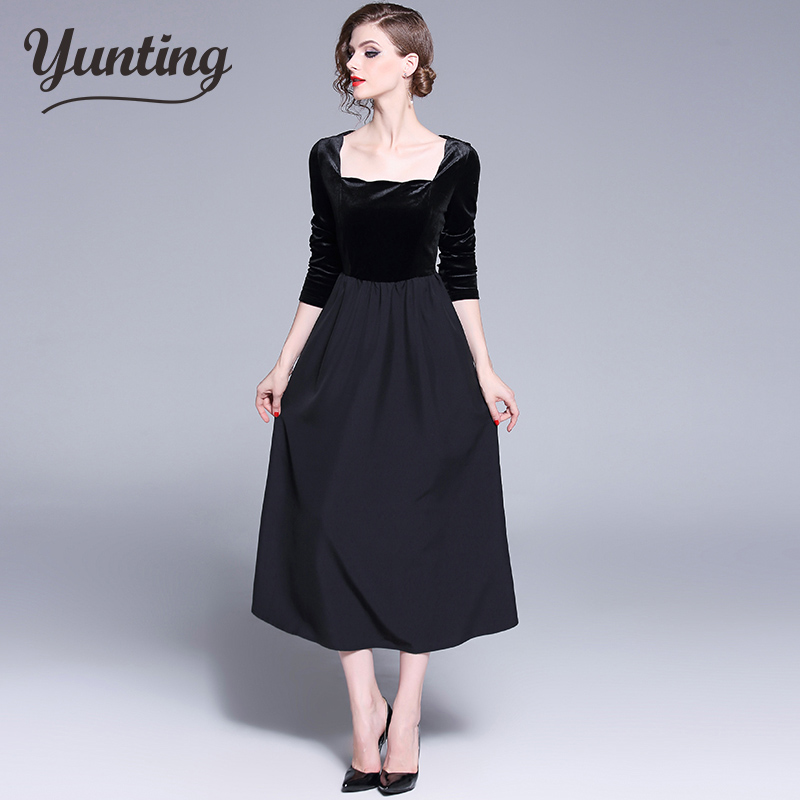 2018 autumn and winter new women long sleeve waist velvet dress female vintage elegant pleated dresses