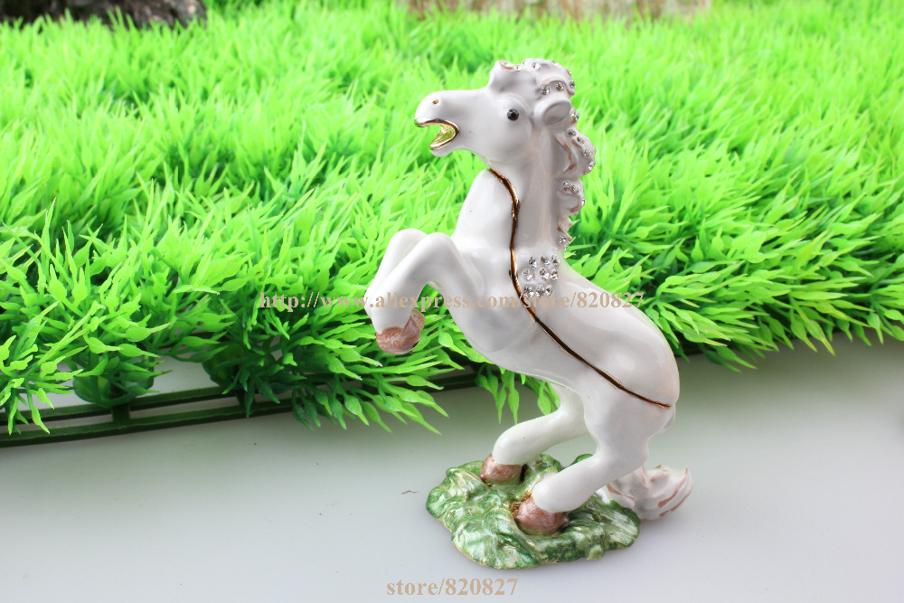 Horse Figurine Jewelry Trinket Box Collectible Horse Handmade Jeweled Metal & Enamel Trinket Jewelry Box Horse Figurine
