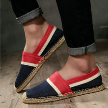 Fashion Heels Men Flats Plimsolls Striped Canvas Boys Casual Linen Shoes Men hemp Shoes Male Espadrille Fisherman Shoes LF-33