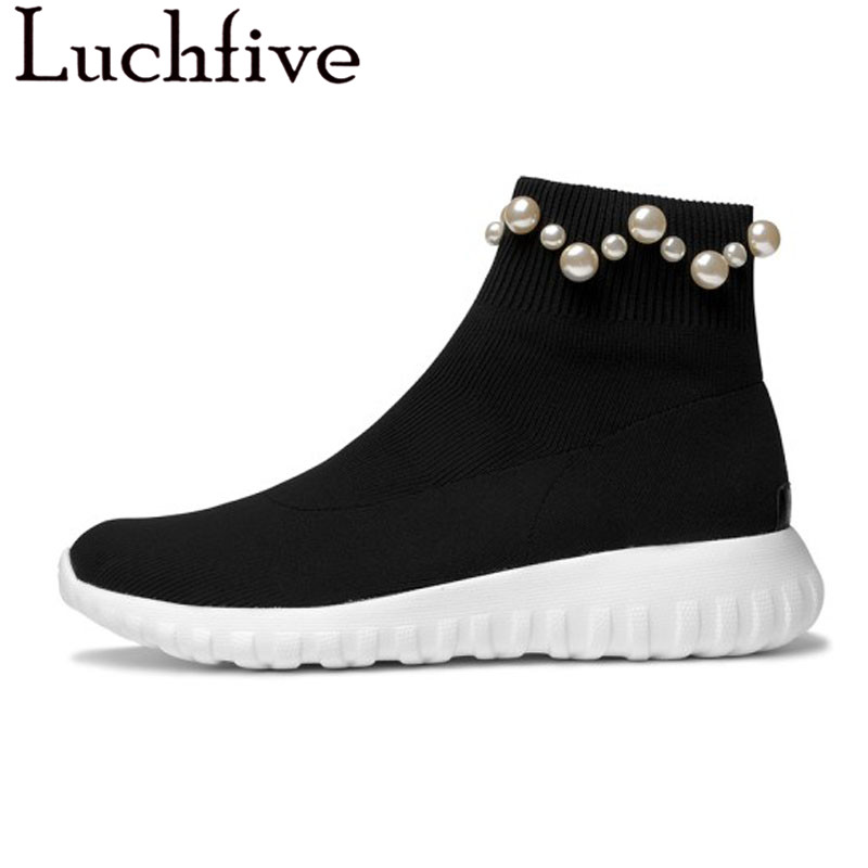 Knitted Elastic Ankle Boots for women stripe pearled platform Flat heels sneakers Socks Shoes Female Booties 2018 casual shoes