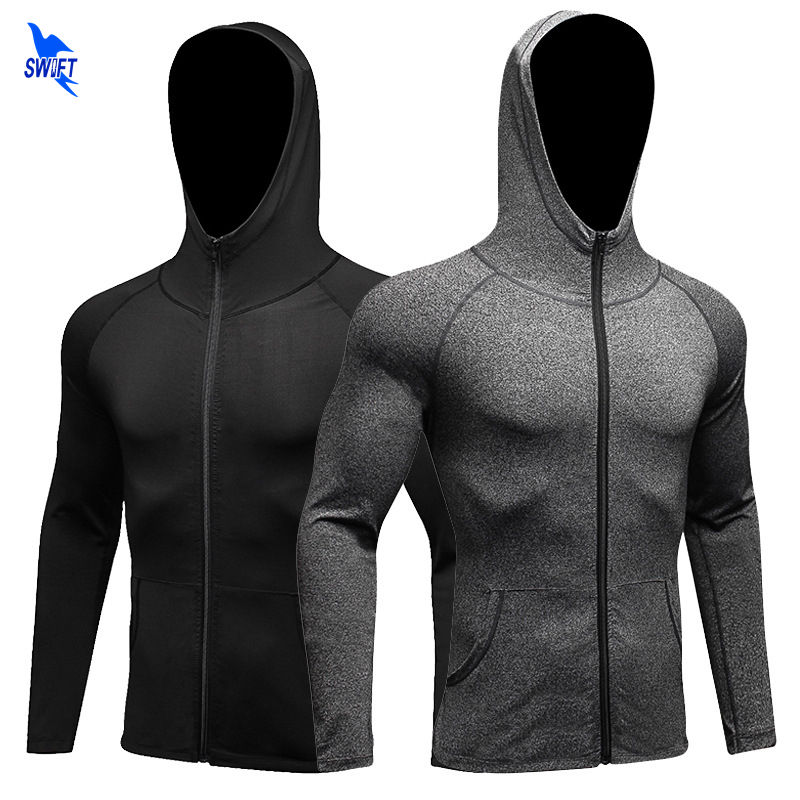 Windproof Hooded Winter Running Jacket Men Breathable Quick dry Yoga Fitness Jerseys Sports Wind Coat Zipper Protect Sweatshirts new winter yoga suit five piece female ms breathable coat of cultivate one s morality pants sports suits running fitness