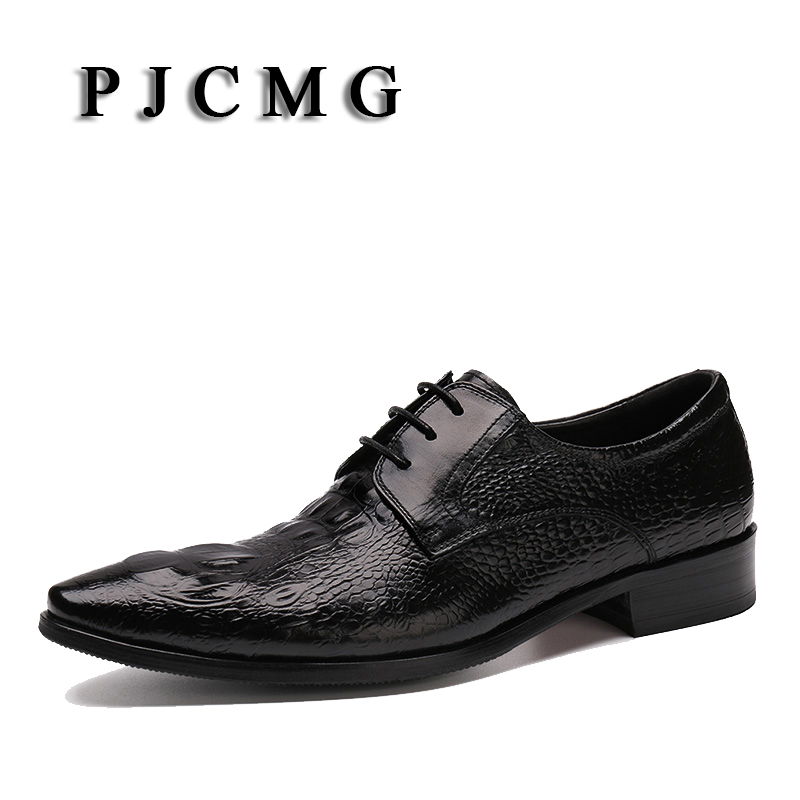 PJCMG New Arrival High Quality Comfortable Brand Crocodile Pattern Genuine Leather Lace-up Pointed Toe Flats Oxfords Men Shoes plus size 2016 new formal brand genuine leather high heels pointed toe oxfords punk rock men s wolf print flats shoes fpt314