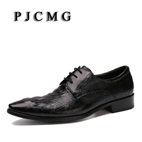 New Arrival High Quality Comfortable Brand Men Crocodile Pattern Genuine Leather Lace Up Pointed Toe Flats