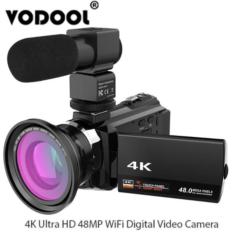 4 K 1080 P 48MP WiFi Numérique caméra vidéo Caméscope Enregistreur w/0.39X grand-angle macro Lentille Microphone Adopter pour Novatek 96660 puce
