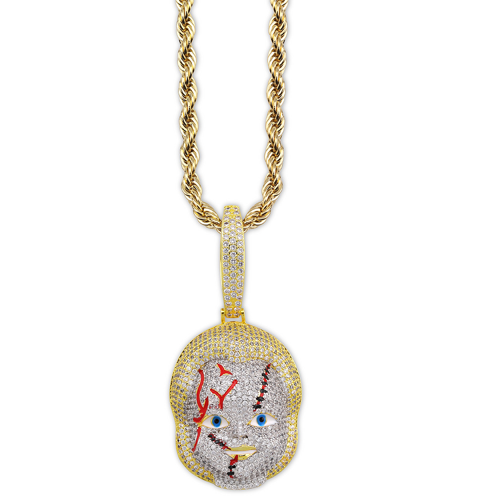 Image 2 - TOPGRILLZ ICED OUT Chucky Pendant Necklace Micro Pave Cubic  Zirconia with Solid Back Hip Hop Jewelry Street WearPendant Necklaces
