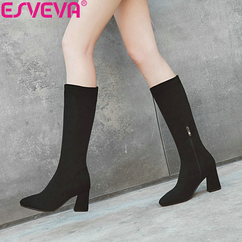 ESVEVA 2019 Woman Boots High Heels Zip Winter Shoes Western Style Boots Women Mid-calf Boots Med Heels Shoes Pointed Toe 34-43 esveva 2019 women shoes mid calf boots round toe med heels winter boots short plush slip on height increasing snow boots 34 43