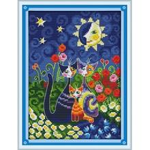 Joy sunday cartoon style Cats under the sun diy needle print fabric to beginner