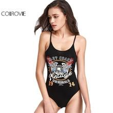 Colrovie Scoop Back Graphic Cami Bodysuit пикантные черные сапоги без рукавов с открытой спиной боди летняя Клубная пляжная одежда боди