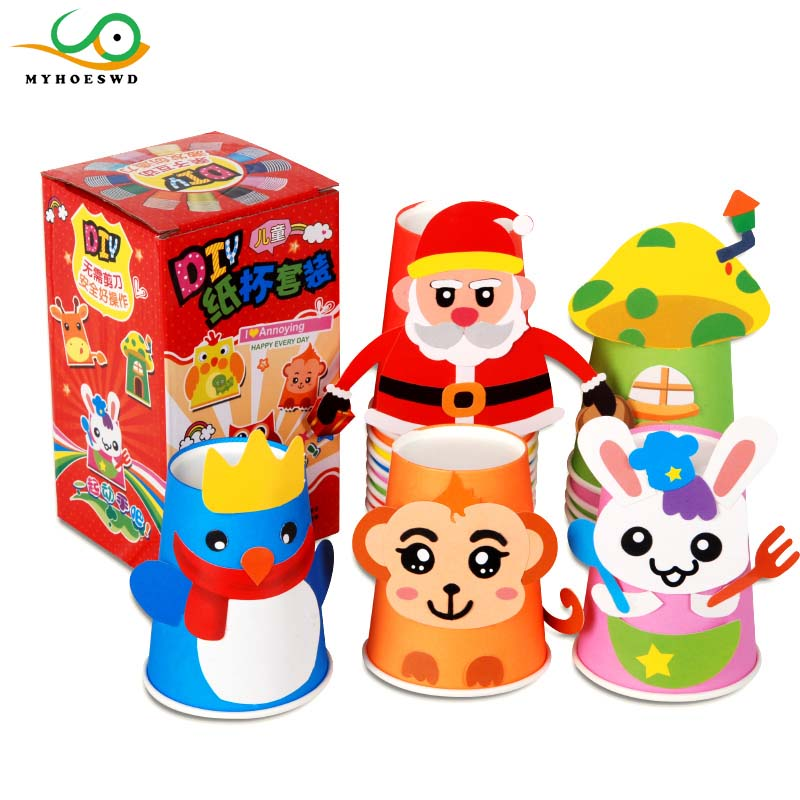MYHOESWD 12pcs Set DIY Paper Cup Craft Kits Lot Cartoon Animal Gift Box Creative Kindergarten Baby Educational Toys For Kids In Model Building From